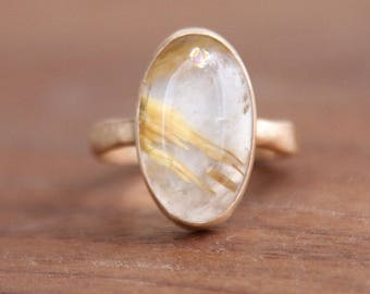 Rutilated Quartz Oval Ring, 14k gold