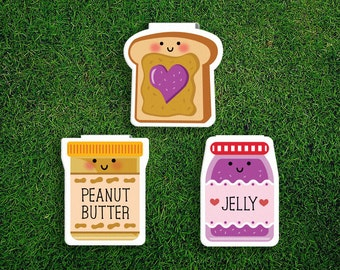 Magnetic Bookmark Set | Peanut Butter Jelly Magnet Cute Book Bookmarks Pack of 3 Magnetic Cute Quirky Kawaii PB&J Sandwich Jam Bread Toast