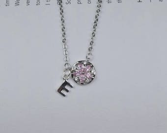 personalized initial flower necklace dainty delicate silver monogram necklace bridesmaid necklace