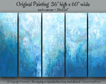 Large wall art, Blue abstract painting original, Canvas art XXL, Bedroom, Teal home decor, Office, Turquoise navy, Dining room