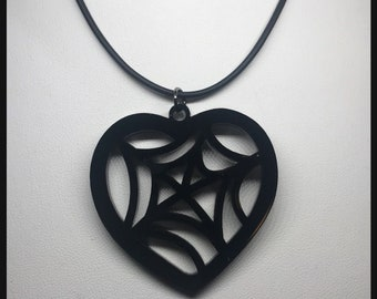 Black Spiderweb Heart Necklace Witchy Vibes acrylic laser Jewelry