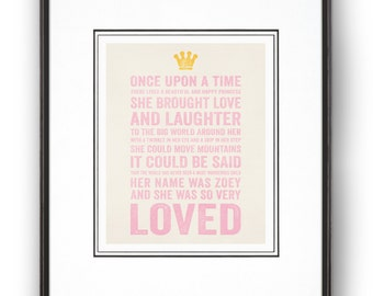 "Personalized Nursery Decor""A Beautiful Happy Girl"" Fairy Tale Art Print"