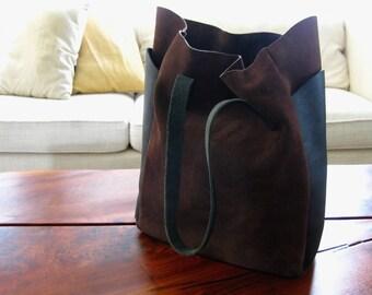 Relaxed Tote - Chocolate Suede & True Black - Laptop bag, Shoulder bag