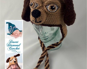 Crochet Pattern 076 - Long Ear Puppy Dog Beanie Hat - All Sizes
