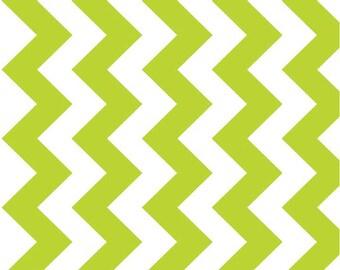 """Medium Chevron Lime 58"""" Wide  by Riley Blake Designs Half Yard Cut - Chevron Fabric- Extra Wide Fabric"""