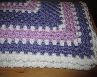 Violet, Orchid, and White Baby Afghan.