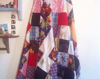 1960s quilt patchwork maxi skirt, many different fabrics / small - medium