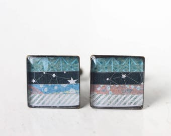 Blue Constellation Cufflinks - Square Cuff Link for Men and Women, For Groom or Groomsmen Unisex
