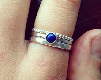 Lapis lazuli ring, Lapis lazuli stacking rings, silver rings, Blue gem ring, Lapis lazuli Jewelry, Stackable rings, Lapis, UK sellers only
