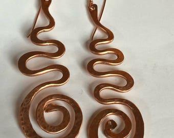 Wave Spiral Copper Earrings