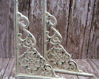 "Wall Bracket Cast Iron Shelf Ornate 4 5/8"" x 6 3/8"" Brace Shabby Elegance Cream Off White Floral Distressed 1 Pair (2 individual brackets)"