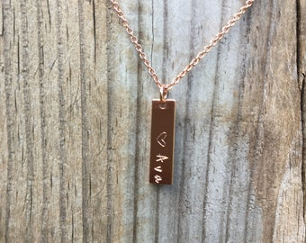 Name bar necklace, personalized vertical bar necklace, hand stamped jewelry