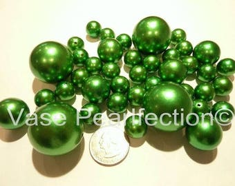 All Kelly Green/Holiday Christmas Green Pearls - Jumbo/Assorted Sizes Vase Fillers for Centerpieces