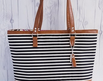 Canvas Tote Bag, Work Bag, Everyday Tote, Diaper Bag, Travel Bag, Waterproof, Black White Stripe, Faux Leather, Handbags, Personalized Tote