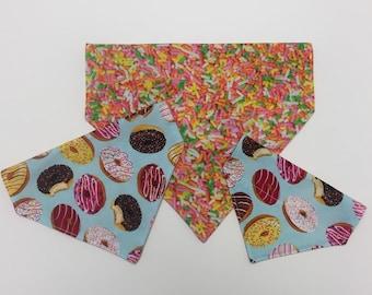 Dount over the collar reversible dog and cat bandana sprinkles doughnut colorful desert cake breakfast sweet birthday