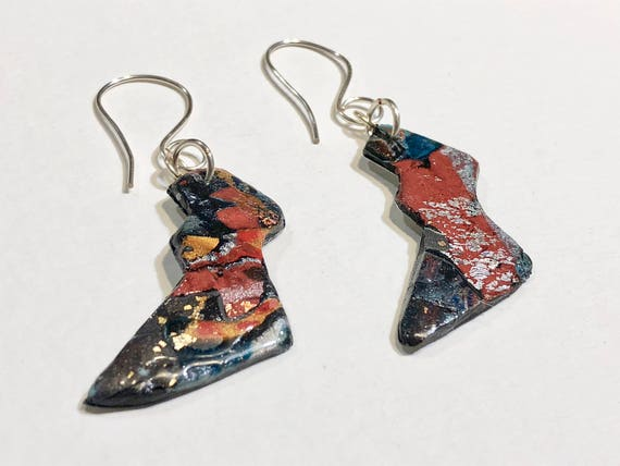 SJC10042 - Earrings - multi color contemporary handmade polymer clay on lightening shaped steel piece with sterling silver ear wire