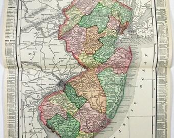 New Jersey: Original 1895 Map by Rand McNally. Antique Original Map