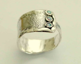 Wide Ring, sterling silver ring, opals gemstone ring, unisex band, oxidized silver ring, rustic silver band, mothers ring - Hug me R1666