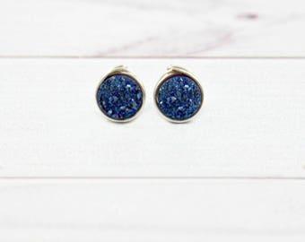 Druzy Earrings, Druzy Stud Earrings, Crystal Earrings, Minimalist Earrings, Druzy Studs, Gemstone Earrings, Sapphire, Royal Blue, Silver,