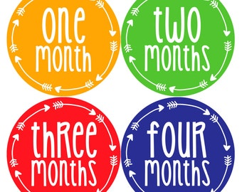 Baby Boy or Girl Month Stickers Monthly Baby Sticker Monthly Baby Stickers Baby Month Stickers Arrows Milestone Stickers Photo Stickers 1023