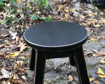 "Stool/Reclaimed wood/ painted/ riser/ round stool/ step stool/ foot stool/ painted/ 8"" H"