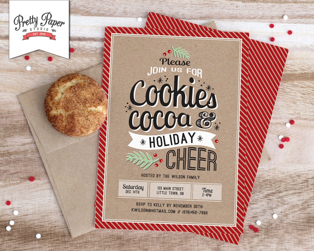 Christmas Party Invitation // Holiday Cookie Exchange // Hot