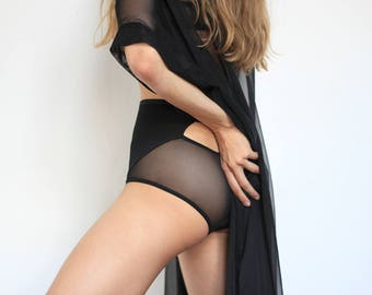 High Waist Black Jersey Panties with Sheer Back and Peek-a-Boo Cut-Out - Organic Women's Lingerie