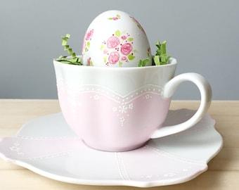 Easter decoration, teacup, ceramic egg, teacup decor, teacup and saucer, easter table, easter egg