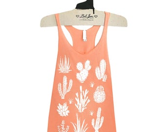 SALE M- Tri-Blend Peach Racerback Tank with cactus Screen Print