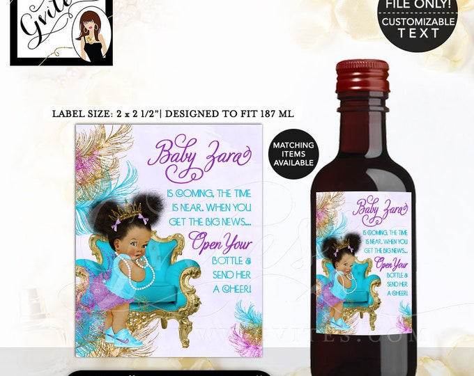 "MINI-Wine Labels Turquoise Purple & Gold Baby Shower, African American baby girl, princess, Afro Puffs. {2x2.5"" 12 Per/Sheet} Gvites"