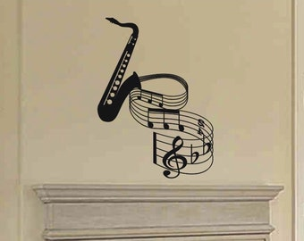 Wall Sticker Decal - Saxophone with musical notes home wall decor