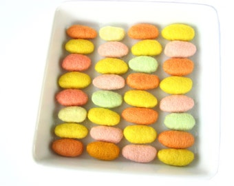 Felted wool pebbles / beads (mix of yellow, green,orange) SALE 32 pcs. Felted wool ornaments, natural beads, colorful stones
