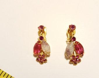 Vintage Deep Pink and White Rhinestone Earrings