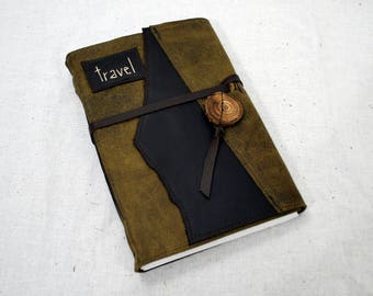Leather Travel Journal with Recycled Paper-Large