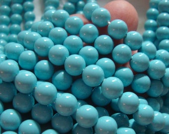 16 Inch Strand, 6mm, Turquoise Blue South Sea Shell Round Pearl, P-0009