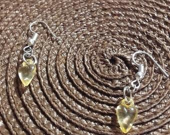 Yellow Heart Fish Hook Earrings