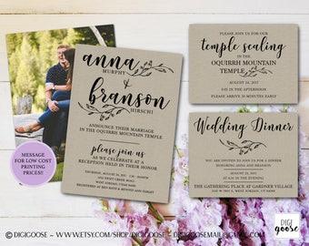 Kraft WEDDING INVITATION // Rustic Wedding Printable Invitation // Rustic Invitation // Kraft wedding invitations // LDS Wedding