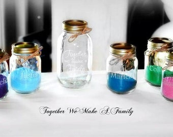 5 Piece Engraved Sand Ceremony set, Together we Make a Family 4 pouring vases mason jars, Personalized Sand Ceremony Set, Keepsake Wedding