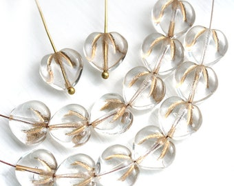 10mm Puffy Heart beads, Crystal Clear and Gold wash czech glass pressed beads, Gold inlays - 15Pc - 1826