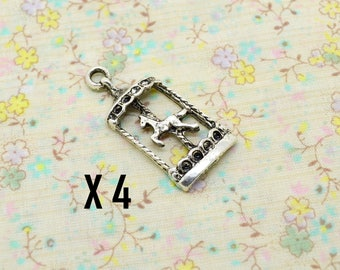 4 x silver carousel horse merry-go-round charm