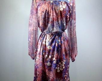 Easter floral print  dress spring retro  lightweight floral print dress 80s dress vintage dress