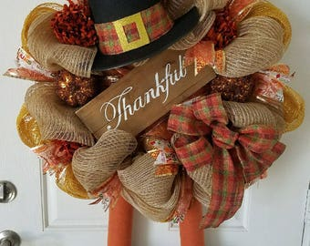 Turkey Wreath-Thanksgiving Wreath-Thankful Wreath-Deco Mesh Wreath-Fall Wreath-Front Door Wreath-Home Decor-Burlap Wreath