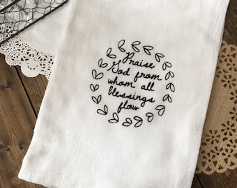 Doxology Tea Towel, Praise God From Whom All Blessings Flow