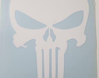 White Punisher Skull Decal
