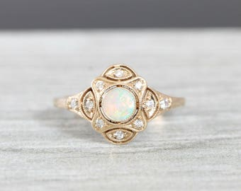 Opal and diamond art deco inspired handmade engagement ring in gold for her