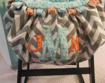 Applique Three Initial Shopping Cart Cover/initial cart cover/shopping cart cover/highchair cover/warehouse cart cover/baby/newborn