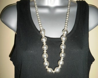 Vintage 925 Sterling Silver Native American Beads Necklace Indian  Necklace Statement Necklace Balls Necklace