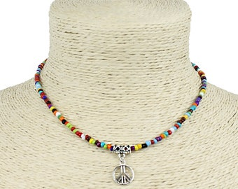 Seed Bead Choker Necklace Bohemian Style Multicolored with Dangle Peace Charm