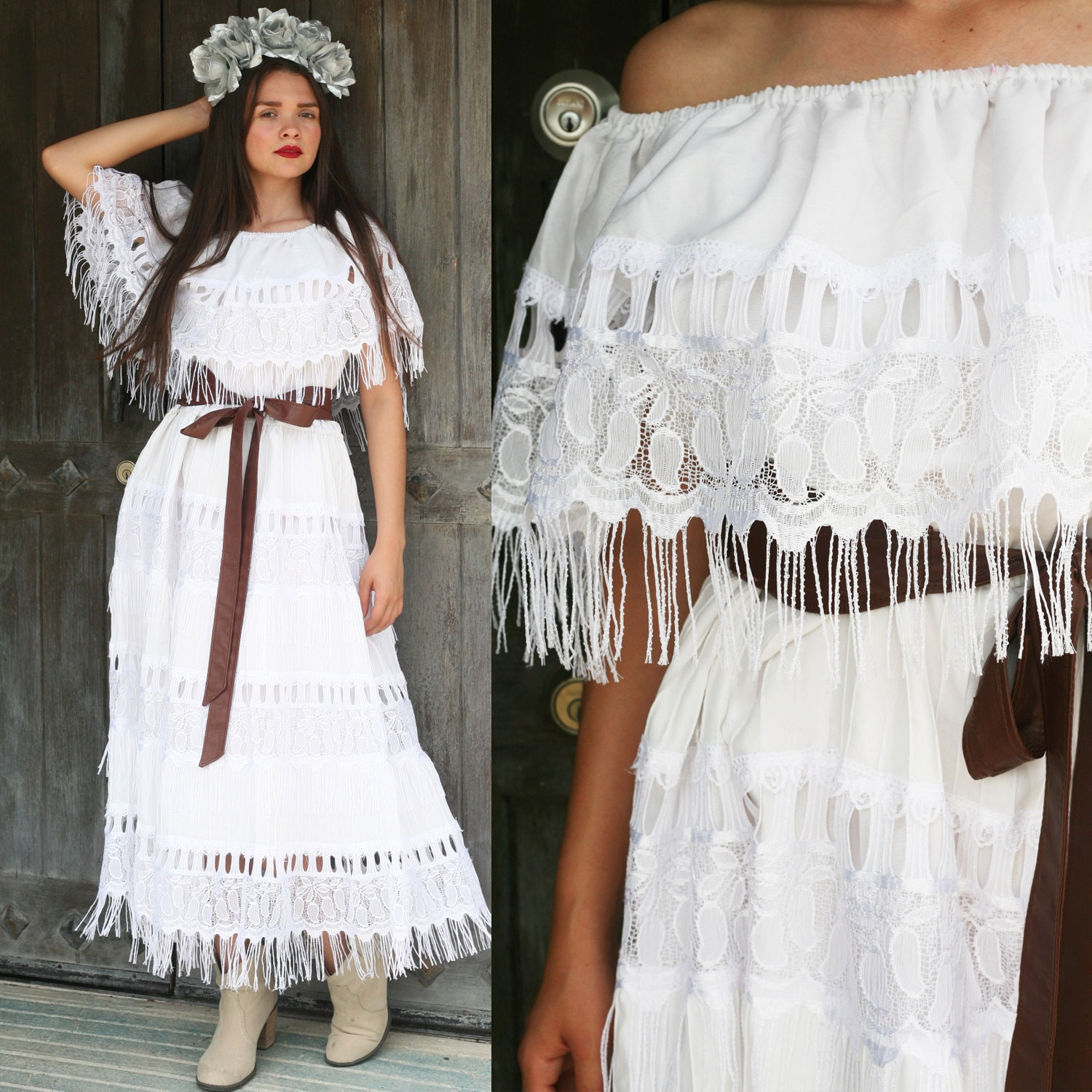 Mexican Wedding Dress Bride Bridal Lace Off Shoulder Fringe