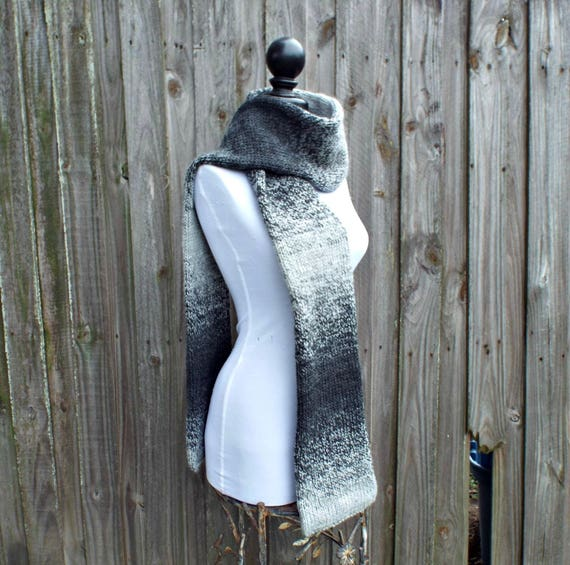 Double Knit Scarf, Silver and Charcoal Grey Mens Scarf Grey Womens Scarf Chunky Knit Scarf Grey Scarf - Knit Accessories - 19 Color Choices